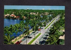 FL Las Olas Blvd Boulevard Fort Ft Lauderdale Florida Postcard Palm Trees