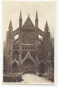 UK London Westminster Abbey North Front Vintage ca 1920 Photochrom Postcard