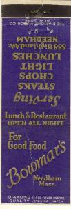 Vintage Needham, Mass/MA Matchcover, Bowmar's Restaurant