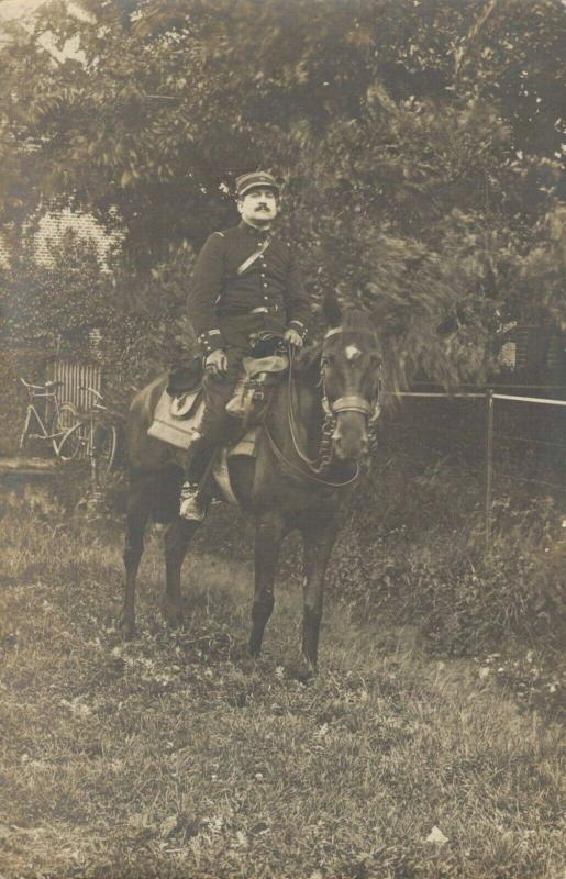 Military Postcard RPPC Riding Horse WW1 Army 02.79