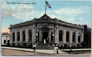 East Liverpool, Ohio Postcard Post Office Building / Street View 1915 Cancel