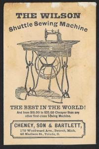 VICTORIAN TRADE CARD Wilson Sewing Machine Man Cradle & Sewing Machine c1871