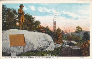 Little Round Top and General Warren Statue Gettysburg Pennsylvania 1928