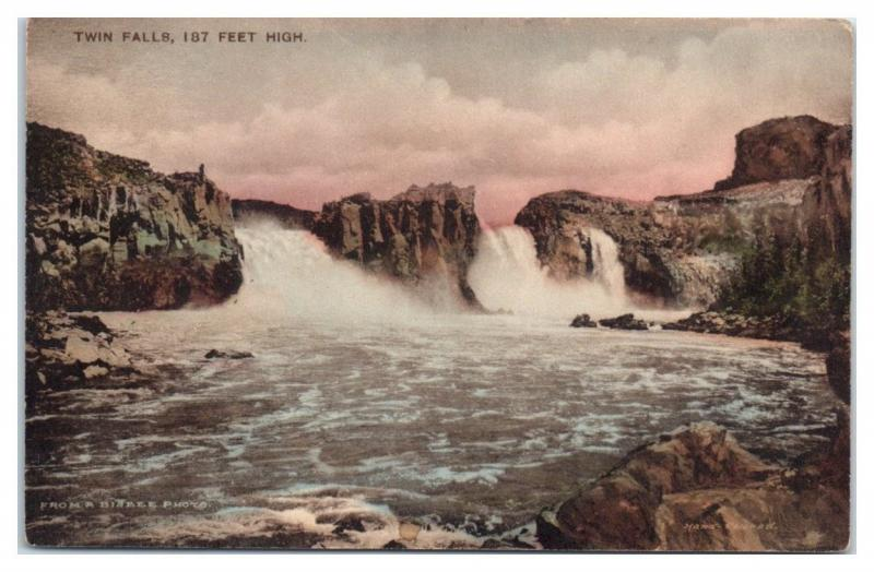 Early 1900s Twin Falls, Snake River, Southern Idaho Hand-Colored Postcard