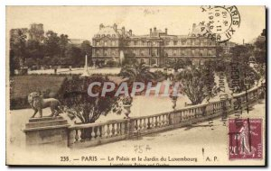Old Postcard Paris Palace and Luxembourg Gardens