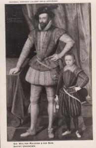 Sir Walter Raleigh & His Son Soldier Devon History London Art Painting Postcard
