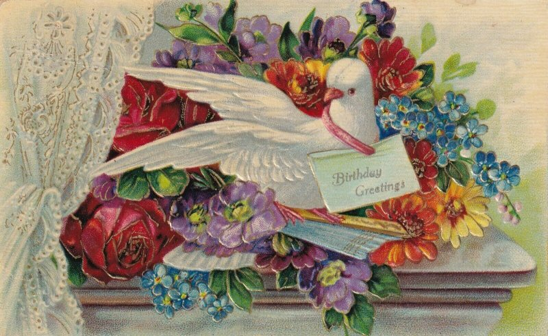 BIRTHDAY, PU-1908; Greetings, Dove perched on bouquet of flowers, Note