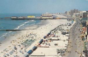 Panoramic view looking down upon the boardwalk, beach, and the Atlantic Ocean...