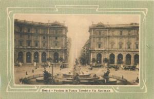 Italy Roma Fontana in Piazza Termini e Via Nazionale