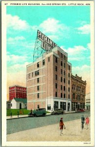 Little Rock, Arkansas Postcard PYRAMID LIFE BUILDING Street Scene c1930s Unused