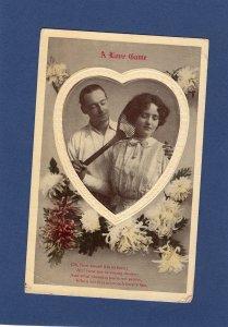 A Love Game Antique Postcard Man & Woman Portrait With Tennis Racquet