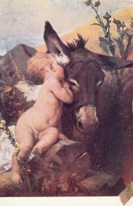 The old donkey & cherub by Benczur hungarian artist early art postcard