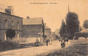 La Feuillie France Seine Maritime Street Scene Cafe Antique Postcard K71040