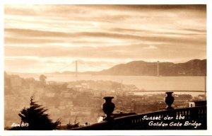 California San Francisco Sunset O'er The Golden Gate Real Photo