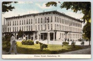 Galesburg Illinois~Man Walks in Park Across From Union Hotel~Turkish Baths~c1910