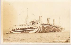 WWI Camoflaged Troop Ship - Real Photo