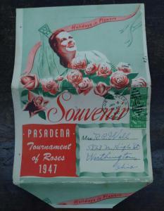 Pasadena California Tournament of Roses 1947 Parade  Postcard Folder J70655