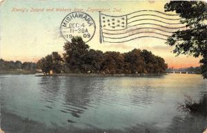 Logansport Indiana~Kienly's Island & Wabash River~Bridge in Distance~1909 Pc