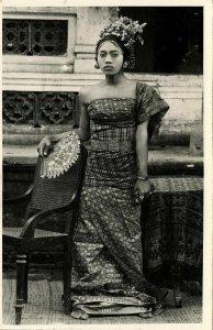 indonesia, BALI, Beautiful Native Legong Dancer Girl with Fan (1930s) RPPC