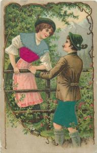 Novelty 1904 embossed silk velvet material couple chromo postcard
