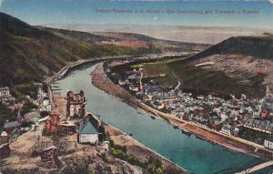Traben-Trarbach a. d. Mosei, Die Grevenburg mit Trarbach u. Traben, Rhineland...