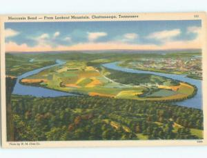 Linen AERIAL VIEW OF TOWN Chattanooga Tennessee TN n3949