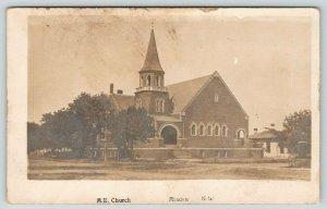 Minden Nebraska~Across the Way~United Methodist Episcopal Church~Sepia RPPC 1910