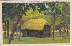 North Carolina Roanoke Island Thatched Roof Hut Reconstructed In Fort Raleigh
