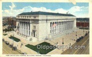 Denver, CO USA Post Office Unused indentation on card, stains on back