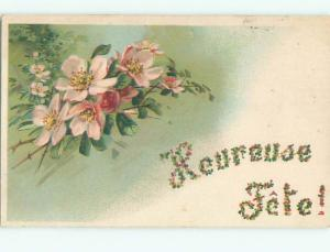 Very Old Foreign Postcard BEAUTIFUL FLOWERS SCENE AA4375