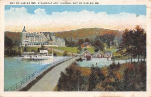 Bay Of Naples Maine~Inn~Steamboat at Landing~Bridge~1920s Postcard