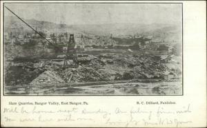 East Bangor PA Slate Quarry Mining c1910 Psotcard