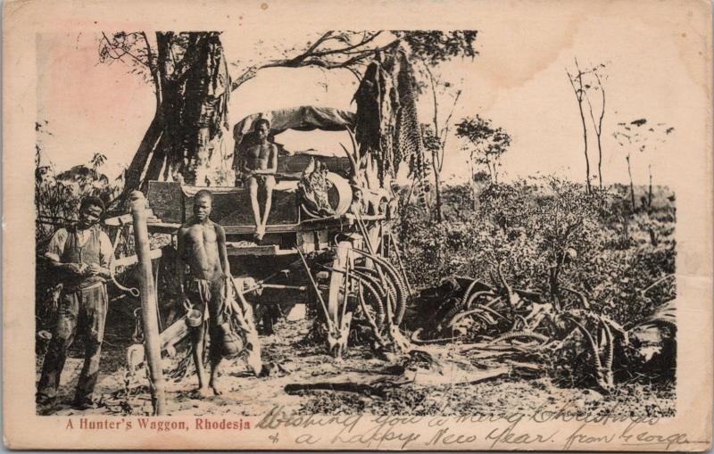 A Hunter's Wagon Rhodesia Africa Hunting Postcard E32 *As Is