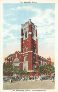 St Petersburg Florida~First Methodist Church~Congregants Pour In~1920s Cars~PC