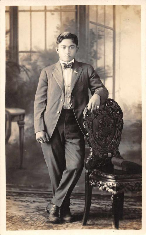 Philippines Man  in Suit Real Photo Vintage Postcard JE229711
