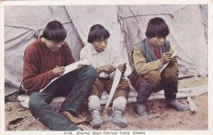 Alaska Eskimo Boys Carving Ivory sk921