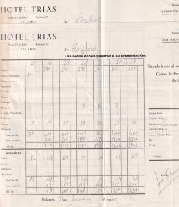 Hotel Trias Palamos 2x 1955 Receipt s