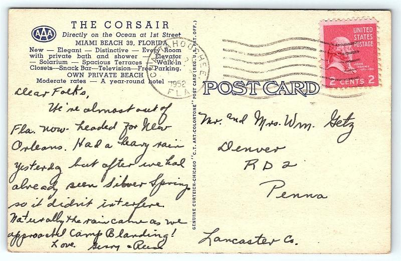 Postcard Fl Miami Beach Corsair Hotel Vintage Linen E14