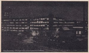 Eindhoven Philips By Night Dutch Antique Postcard