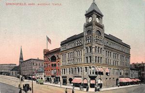 Masonic Temple, Springfield, Massachusetts, Early Postcard, Unused