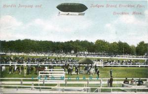 1910 Brockton MA PC: Aviator Parker Hovers Over Fair Track in Strobel Airship