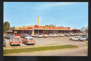 RED WING MINNESOTA 1950's CARS WOODY WAGON POTTERY STORE VINTAGE POSTCARD