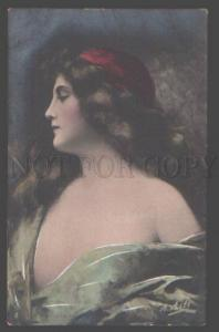 097785 Semi-Nude Girl LONG HAIR by ASTI vintage PHOTO tinted