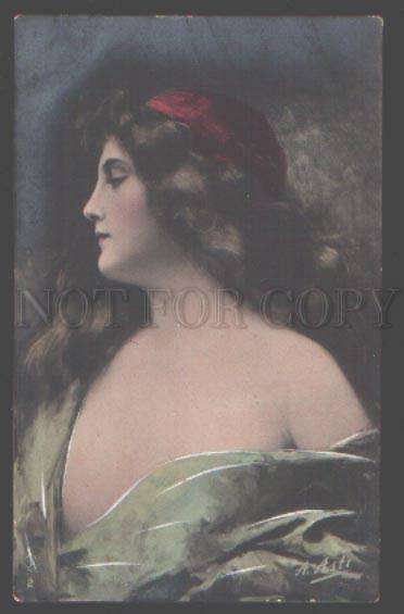 097785 Semi-Nude Girl LONG HAIR by ASTI vintage PHOTO tinted