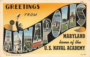 LP02   Annapolis Maryland  Large Letters U.S. Naval Academy  Postcard