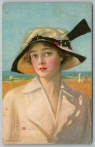 Penrhyn Stanlaws~Beautiful Woman~Wide Brim Hat~beach background~Watercolor 5