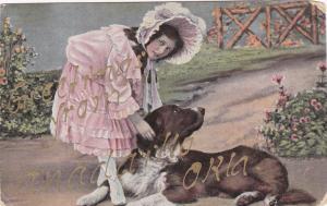 Girl wearing bonnet petting dog, 00-10s