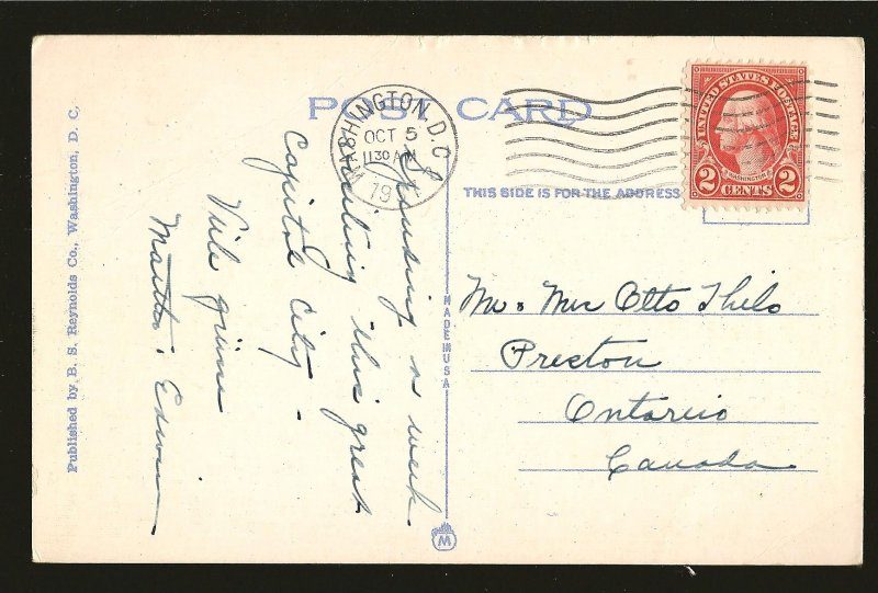 USA Postmark 1937 Washington DC Tomb of Unknown Soldier Arlington Linen Postcard