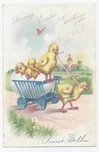 Tuck Easter Postcard Chick Pulling Cart Hatchlings UDB 1907