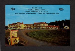 QC Hotel Motel Bon Accueil Gaspesie Quebec Carte Postale Riviere MADELEINE
